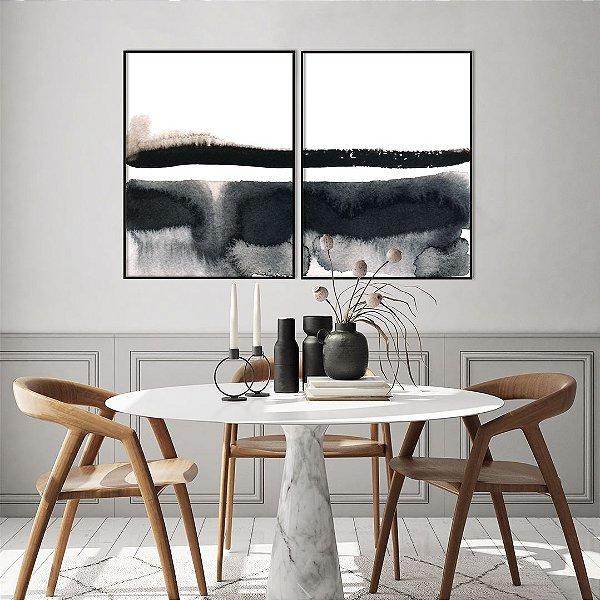 Conjunto com 02 quadros decorativos Pintura Abstrata Preto e Bege