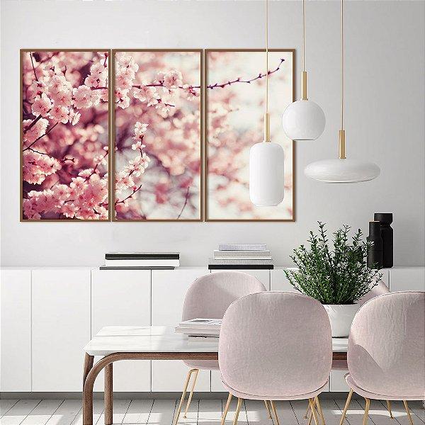 Conjunto com 03 quadros decorativos Galhos de Cerejeira