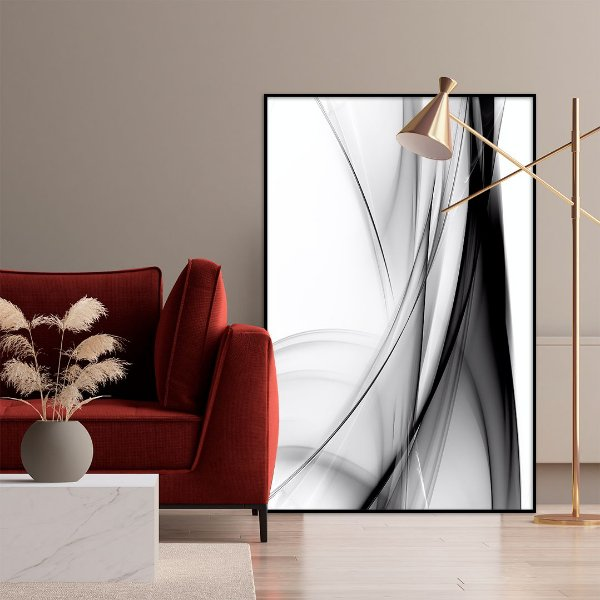 Quadro decorativo Abstrato Preto e Branco