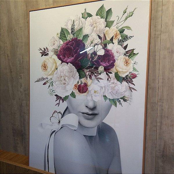 ENVIO IMEDIATO - Quadro Decorativo Mulher Floral Rosa 50x70cm (LxA) Moldura Alumínio Rose Gold