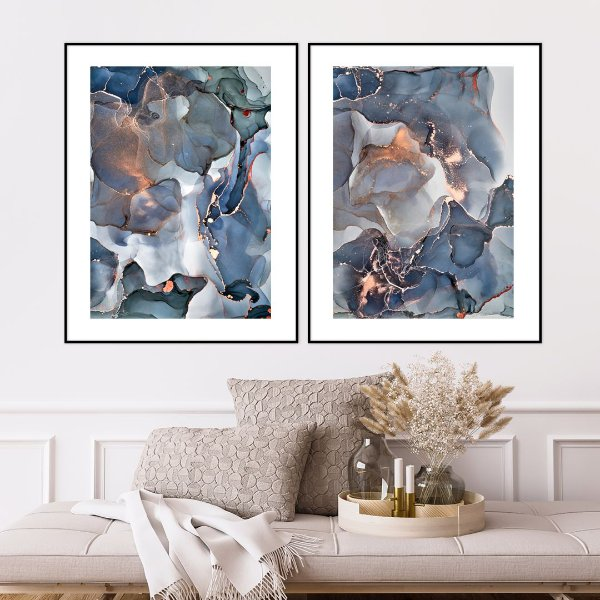 ENVIO IMEDIATO - Conjunto com 02 quadros decorativos Abstrato Azul, Verde e Cobre 60x80cm (LxA) Moldura Alumínio Preto