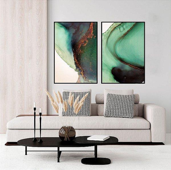 Conjunto com 02 quadros decorativos Abstrato Verde
