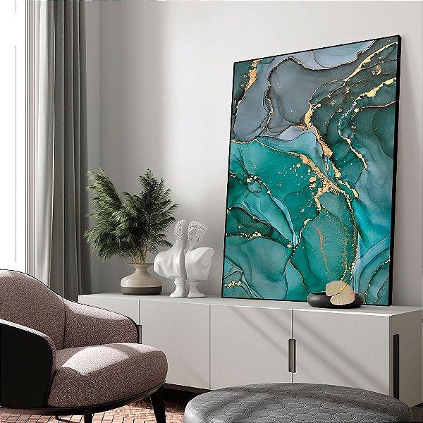Quadro decorativo Abstrato Verde, Cinza e Dourado