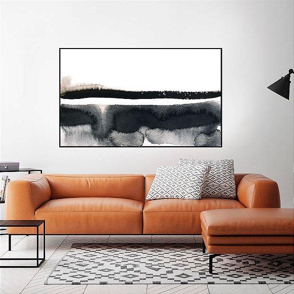 Quadro decorativo Abstrato Preto, Branco e Bege