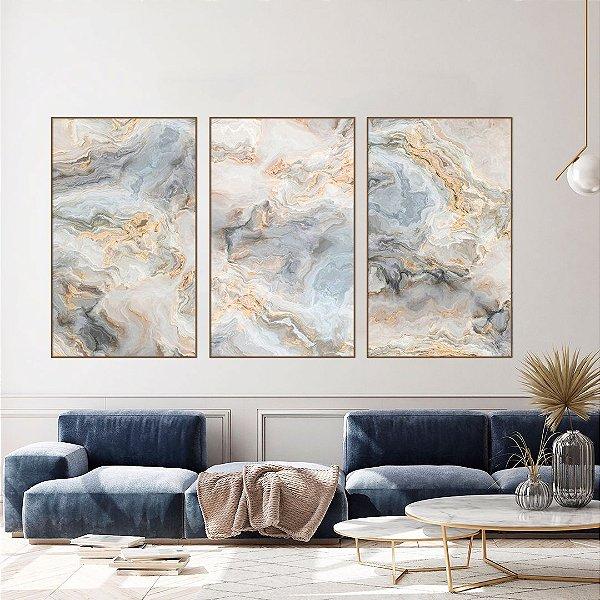Conjunto com 03 quadros decorativos Abstrato Azul e Bege