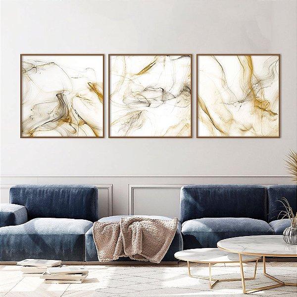 Conjunto com 03 quadros decorativos Abstrato Mostarda