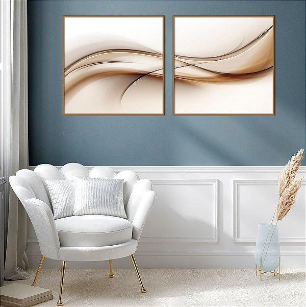 Conjunto com 02 quadros decorativos Abstrato Marrom e Bege