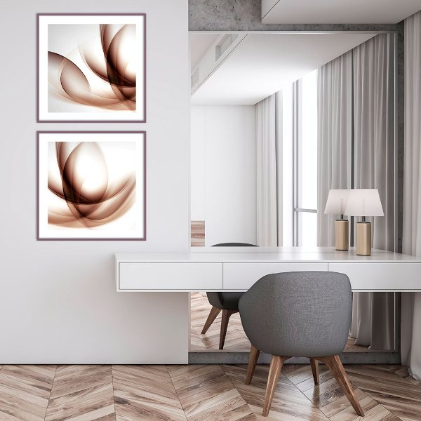 Conjunto com 02 quadros decorativos Abstrato Vinho