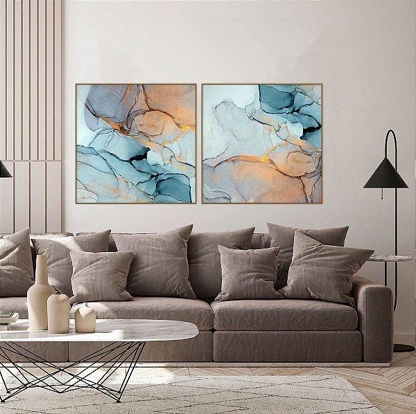 Conjunto com 02 quadros decorativos Abstrato Azul Gold