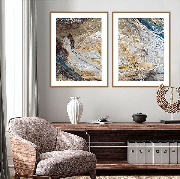 Conjunto com 02 quadros decorativos Arte Abstrata Fluída