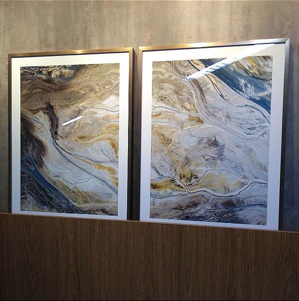 ENVIO IMEDIATO - Conjunto com 02 quadros decorativos Arte Abstrata Fluída 60x80cm (LxA) Moldura cor Cobre