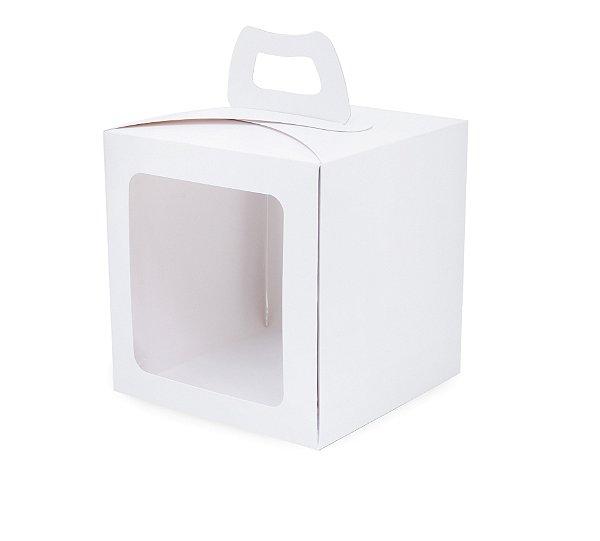 Caixa Mini Bolo com Visor Branca 19,5X19,5X20,5cm com 10 un. Cromus Rizzo