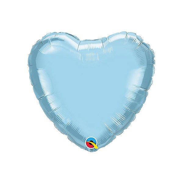 """Balão de Festa Microfoil Coração 18"""" 45cm - Azul Claro Perolado - 01 Unidade - Qualatex - Rizzo"""
