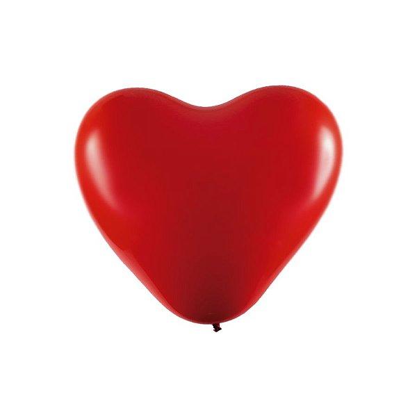 """Balão Coração Látex Cromado 6"""" Vermelho - 25 Unidades - Art-Latex - Rizzo"""