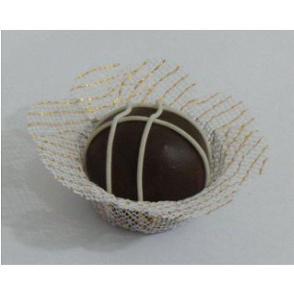 Forminha para Doces Finos - Sweet Branco Tela C/ Fio Ouro - 40 unidades - MaxiFormas