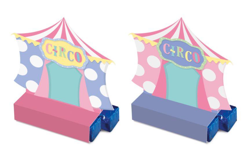 Caixa Bis Festa Circo Rosa - 08 unidades - Cromus - Rizzo