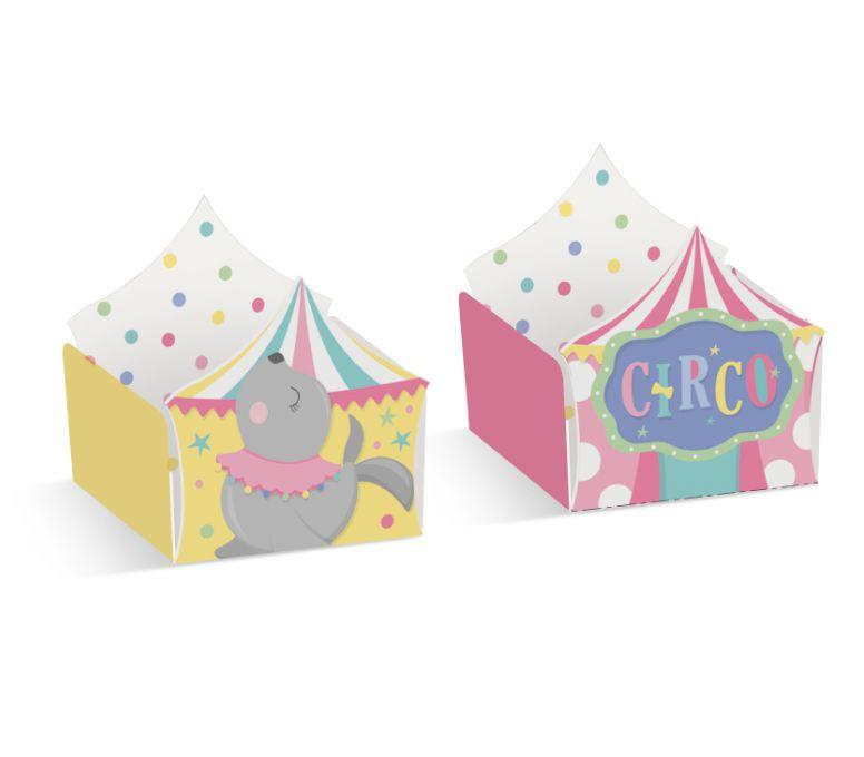 Forminha para Doce Reta Circo e Foca Festa Circo Rosa - 24 unidades - Cromus - Rizzo