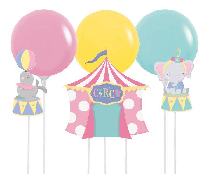 Kit Topo de Bolo com Balão Festa Circo Rosa - 01 kit - Cromus - Rizzo