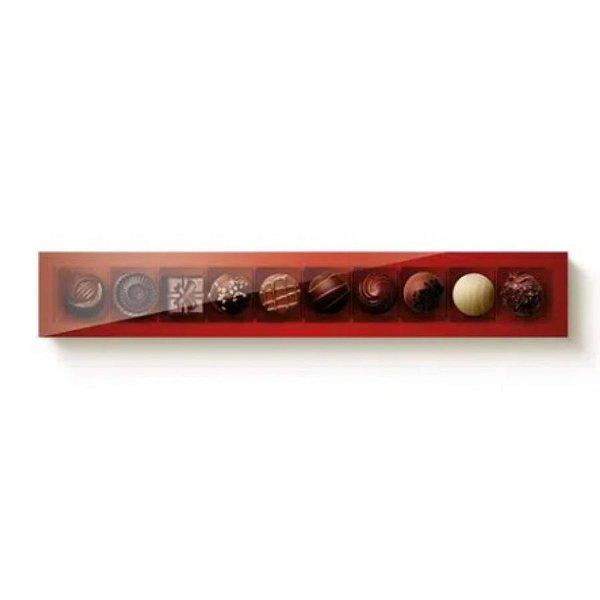 Caixa 10 Doces Retangular Vermelho com Tampa Cristal - 10 unidades - 39x6x4cm - Cromus Profissional