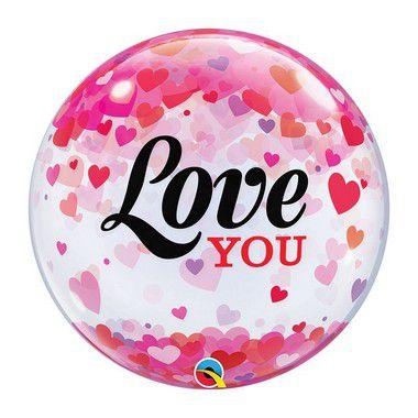 """Balão de Festa Bubble 22"""" 56cm - Love You Coração - 01 Unidade - Qualatex - Rizzo"""