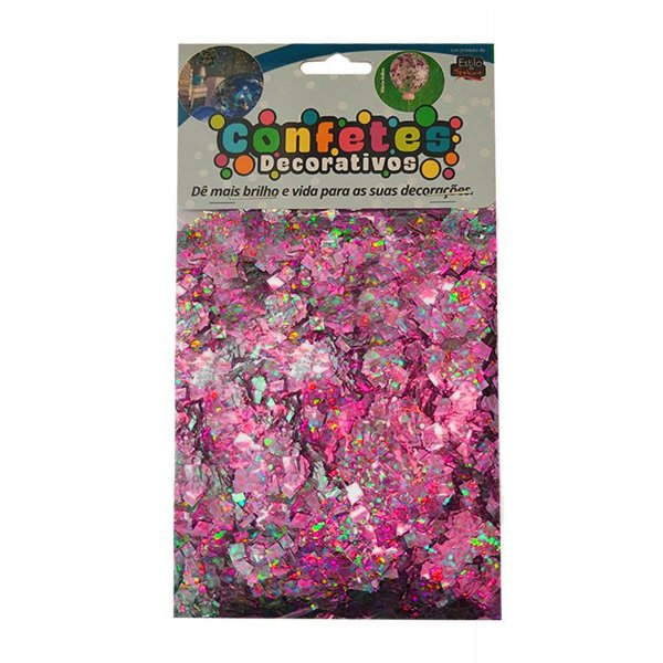 Confete Mini Picadinho Metalizado 25g - Holografico Pink Dupla Face - Rizzo