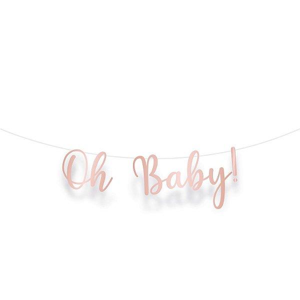 Faixa Decorativa Metalizada Rose Gold- Festa OH Baby Girl - 01 unidade - Cromus - Rizzo