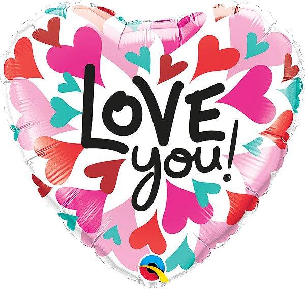 """Balão de Festa Microfoil - Love You Corações Convergindo - 18"""" 46cm - 01 Unidade - Rizzo"""