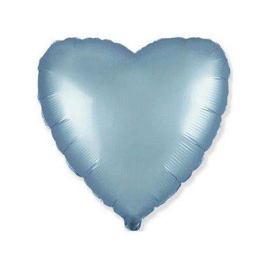 """Balão de Festa Metalizado 20"""" 50cm - Coração Azul Pastel - 01 Unidade - Flexmetal - Rizzo"""