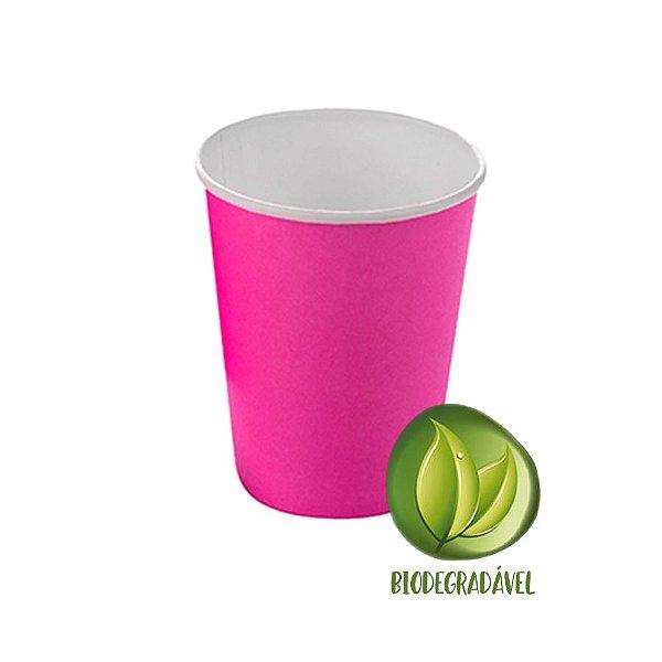 Copo Papel Liso Biodegradável 270 ml  - 10 un - Pink - Silver Festas - Rizzo Confeitaria