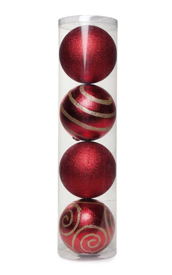 Bola com Arabesco Vermelho e Ouro 15cm - 04 unidades - Cromus Natal - Rizzo Confeitaria