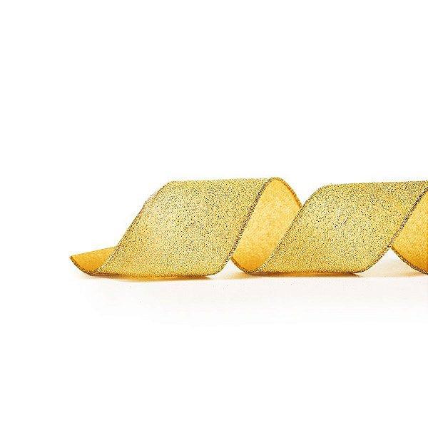 Fita Aramada Ouro Glitter 10cm x 9,14m - 01 unidade - Cromus Natal - Rizzo