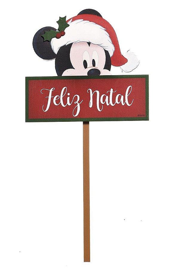 Pick  para Jardim para Decoração Mickey Feliz Natal 35cm - 01 unidade Natal Disney - Cromus - Rizzo Confeitaria