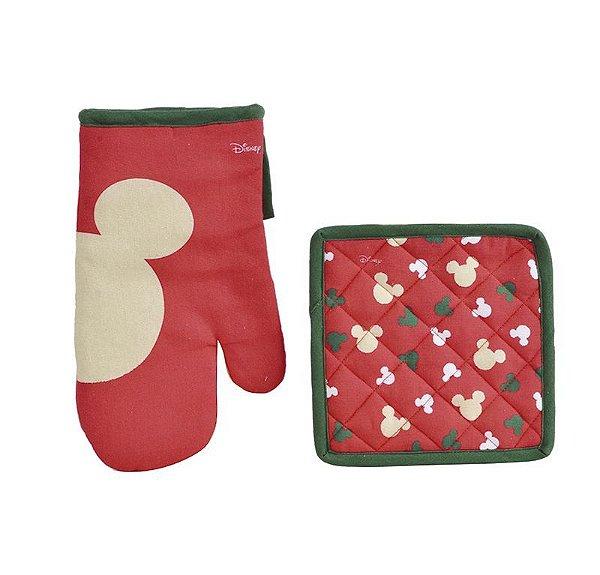 Kit Luva e Pegador Cozinha Mickey Mouse Classic Vermelho e Verde - 01 unidade Natal Disney - Cromus - Rizzo Confeitaria