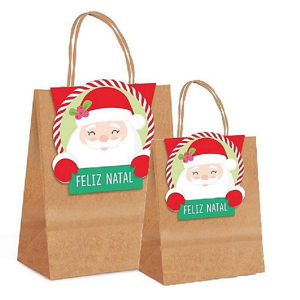 Sacola de Papel com Fechamento - Divertida Papai Noel - Cromus Natal - Rizzo Confeitaria