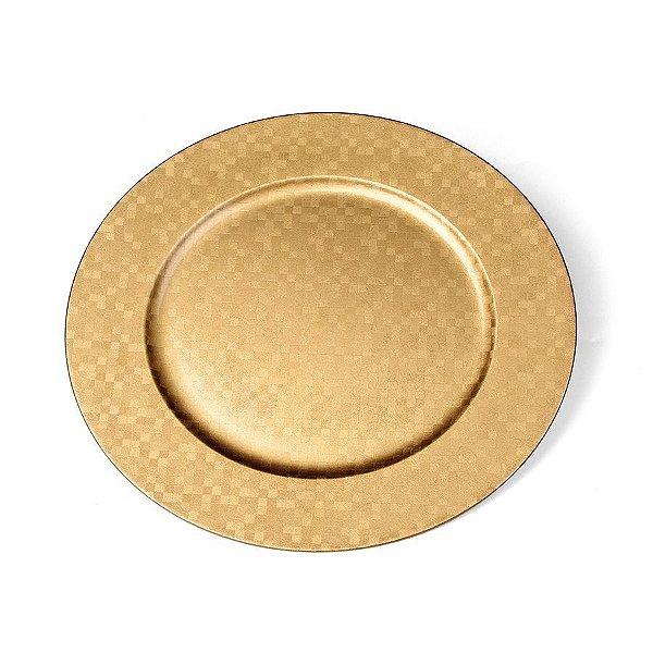 Sousplat Quadriculado Ouro 33cm - 01 unidade - Cromus Natal - Rizzo Confeitaria