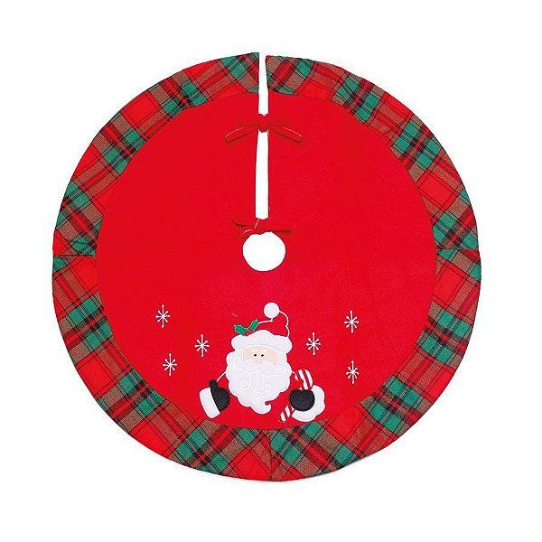 Saia para Árvore Xadrez Noel Vermelho e Verde 70cm - 01 unidade - Cromus Natal - Rizzo Confeitaria