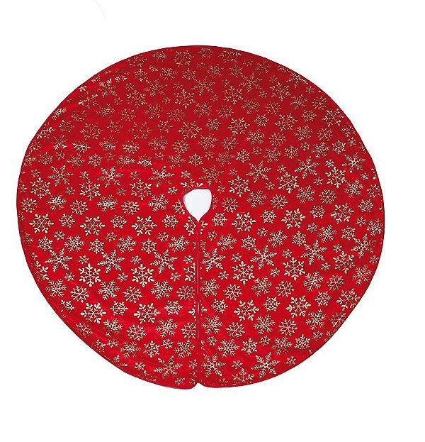 Saia para Árvore Vermelho Flocos de Neve Ouro 120cm - 01 unidade - Cromus Natal - Rizzo Confeitaria