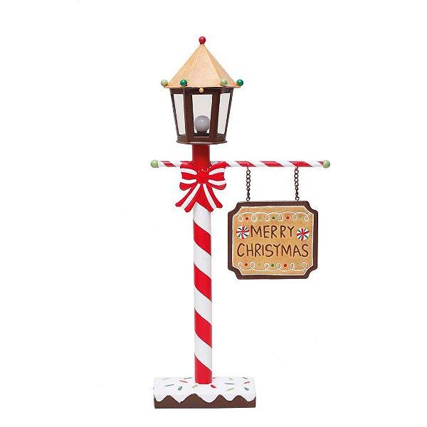 Poste c/ Led Merry Christmas Natal 51cm - 01 unidade - Cromus Natal - Rizzo Confeitaria