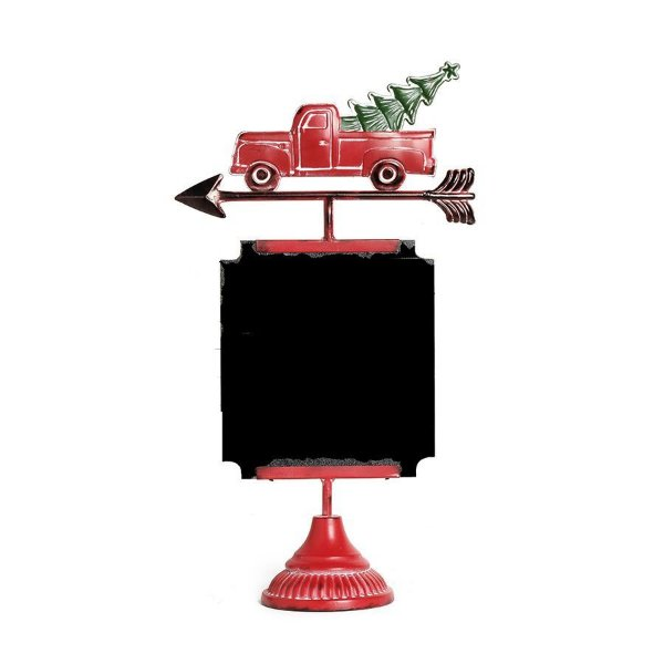 Placa Lousa Caminhão com Pinheiro Preto e Vermelho 45cm - 01 unidade - Cromus Natal - Rizzo Confeitaria