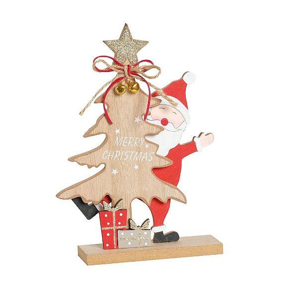Pinheiro com Noel Escondido em Madeira 20cm - 01 unidade - Cromus Natal - Rizzo Confeitaria