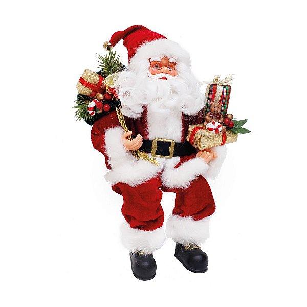 Noel Sentado com Urso Vermelho e Branco 25cm  - 01 unidade - Cromus Natal - Rizzo Confeitaria