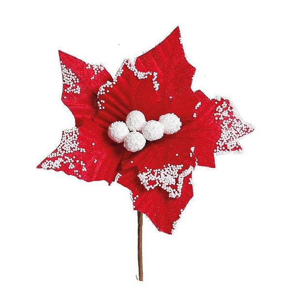 Flor Cabo Curto Poinsettia Vermelho e Branco 20cm - 01 unidade - Cromus Natal - Rizzo Confeitaria