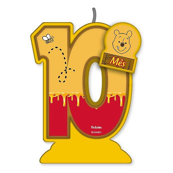 Vela Mesversário Festa Pooh e sua Turma - 10 mês - 01 Unidade - Festcolor - Rizzo
