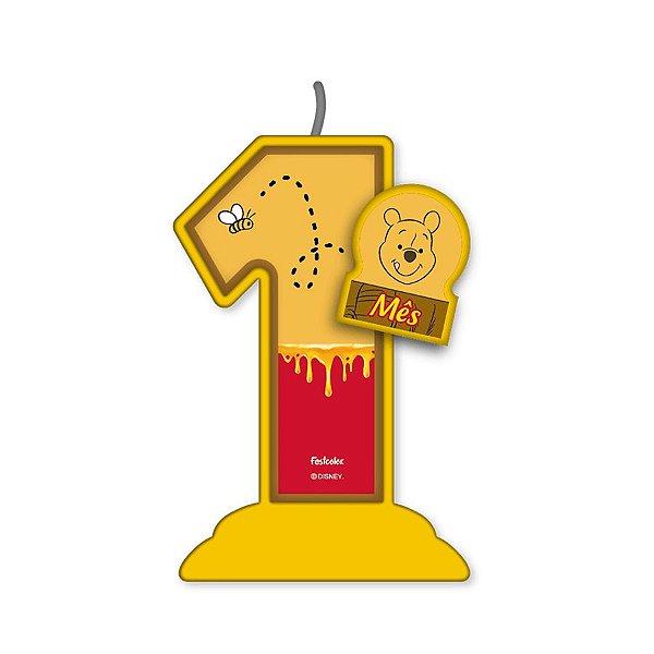 Vela Mesversário Festa Pooh e sua Turma - 1 mês - 01 Unidade - Festcolor - Rizzo