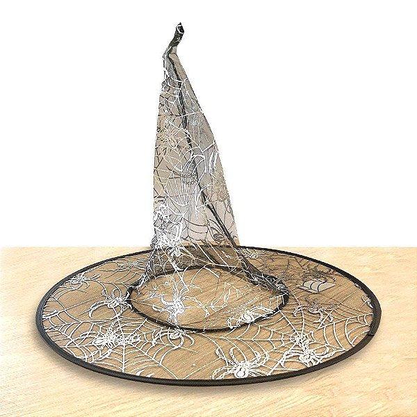 Chapéu de Bruxa Transparente - Teia Prata - Halloween - 01 unidade - Rizzo