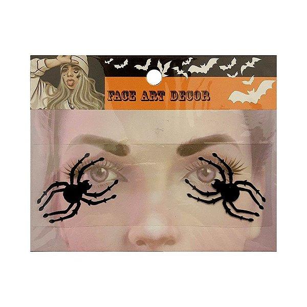 Adesivo Facial Halloween - Face Art Decor - Aranhas - Preto - 01 unidade - Rizzo