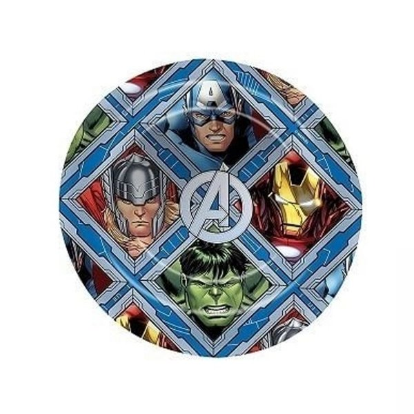 Prato Sem Borda Vingadores Avengers - 22,5cm - Marvel Original - 1 Un - Rizzo