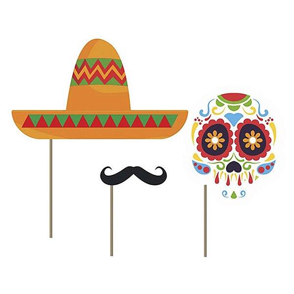 Kit Fantasia Festa Mexicana Dia Dos Mortos - 9 Unidade - Junco - Rizzo