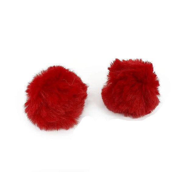 Pompom Pelo Decorativo Vermelho - Nº7 - 2 Un - Artegift - Rizzo