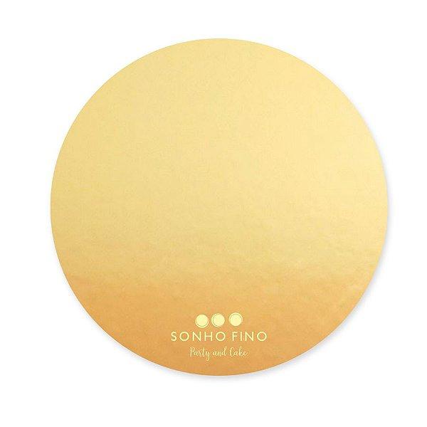 Cake Board Redondo MDF Dourado  - 01 unidade - Sonho Fino - Rizzo